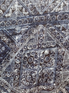 indigo print, done by hand on hemp