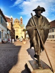 Statue of pilgrim on the path of st james in speyer