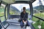 Caro heading up the mountain in the gondola