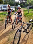 Time for a little bike ride/ happy hour through our campsite